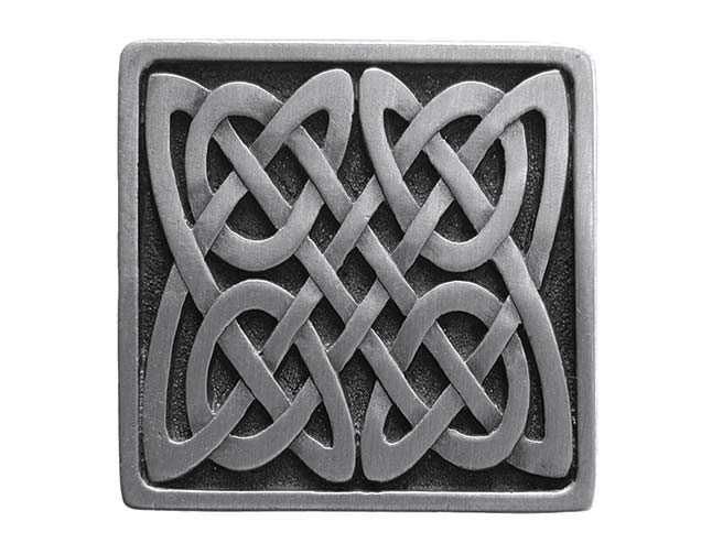 Celtic knot-inspired cabinet knobs from Notting Hill Decorative Hardware are suitable for homes both old and new.