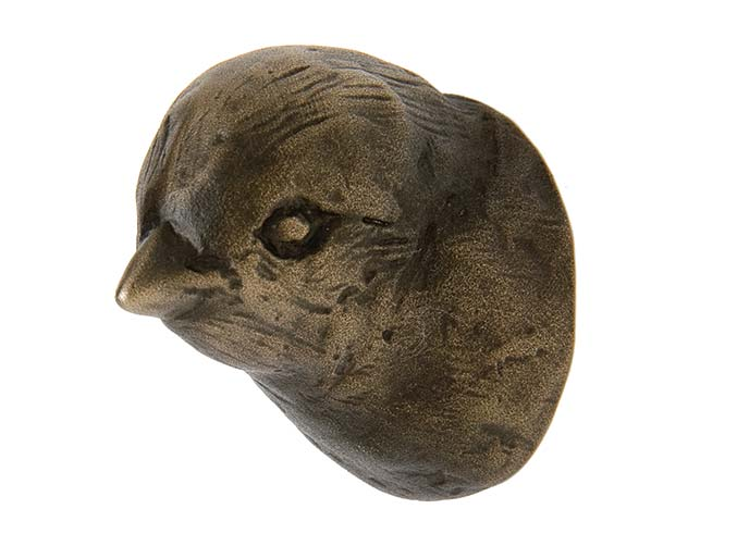Rocky Mountain Hardware makes this finch knob (as well as a cardinal, woodpecker, and grosbeak) in cast bronze in a variety of finishes.