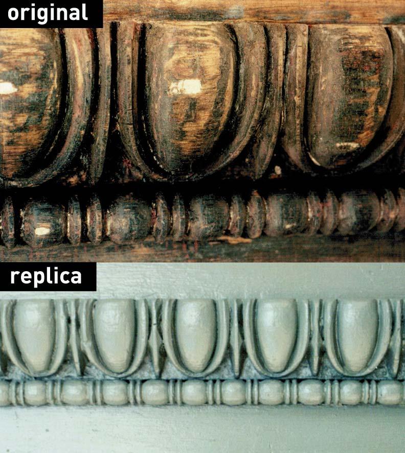 Egg-and-dart molding original and replica