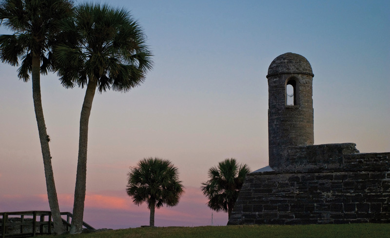 On the western shore of Matanzas Bay on Florida's northeast coast, the bell tower at the Castillo greets another dusk. (Photo: Stacey Sather/Floridashistoriccoast.com)
