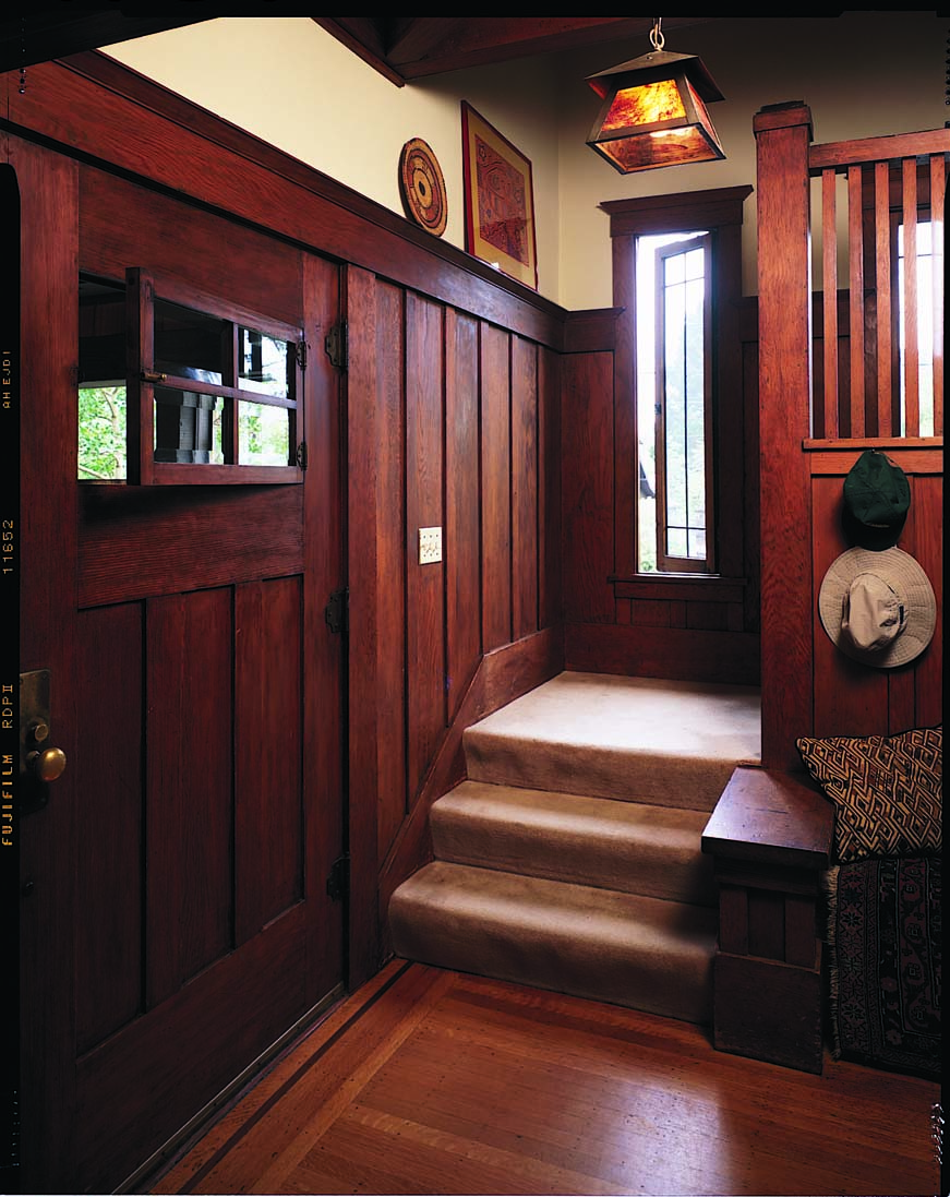 Many millwork manufacturers were inspired by original Arts & Crafts doors, such as this one with an operating casement window.