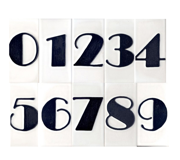 Channel Jazz Age glamour with tile numbers in a classic Art Deco font from Historic Houseparts.
