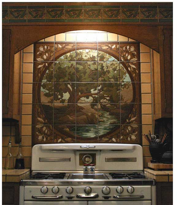 "Circle-in-a-square tile ""painting"" over a vintage stove, by RTK Studios."