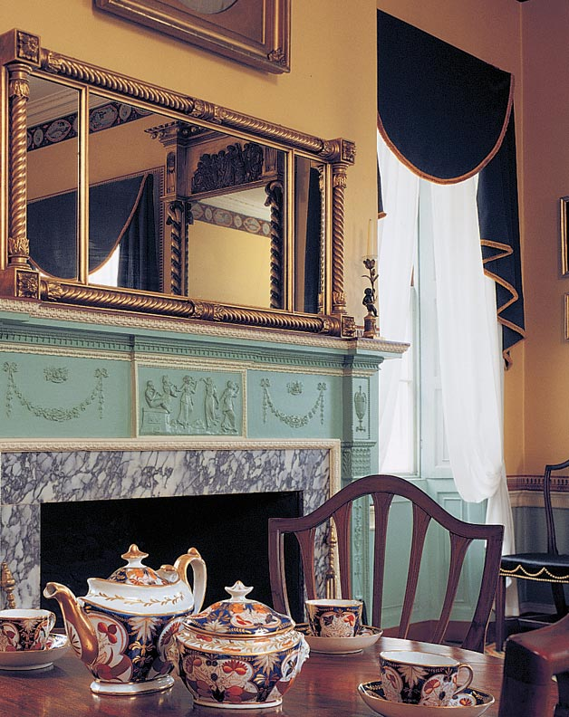 Boston's Harrison Gray Otis House, built in 1796, has such Federal elements as this Adamesque mantel with garlands and urns.