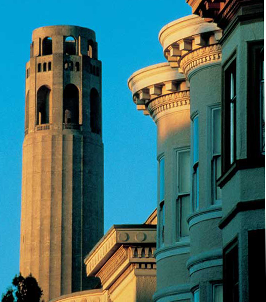 Coit Tower (1933) sits atop Telegraph Hill.