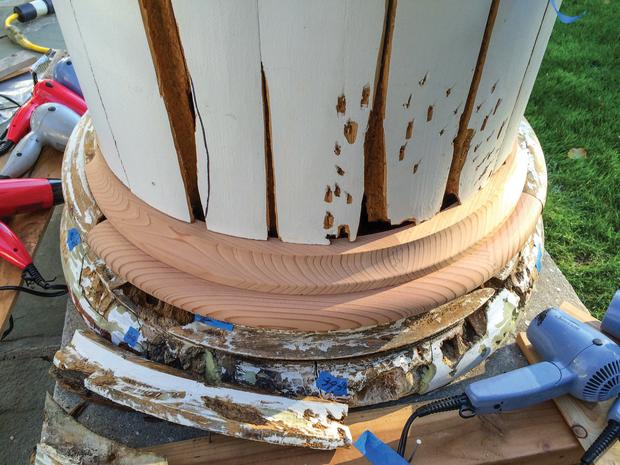 wood column repair process
