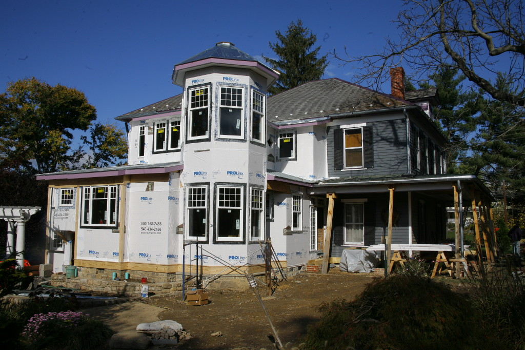 The new kitchen addition features a Queen Anne-style tower.