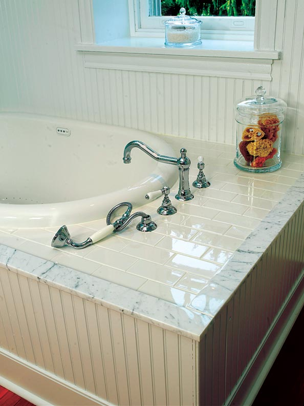 Because the marble pieces used for edging on the tub surround were so long and thin, Home Tech embedded them with steel rods to prevent cracking.