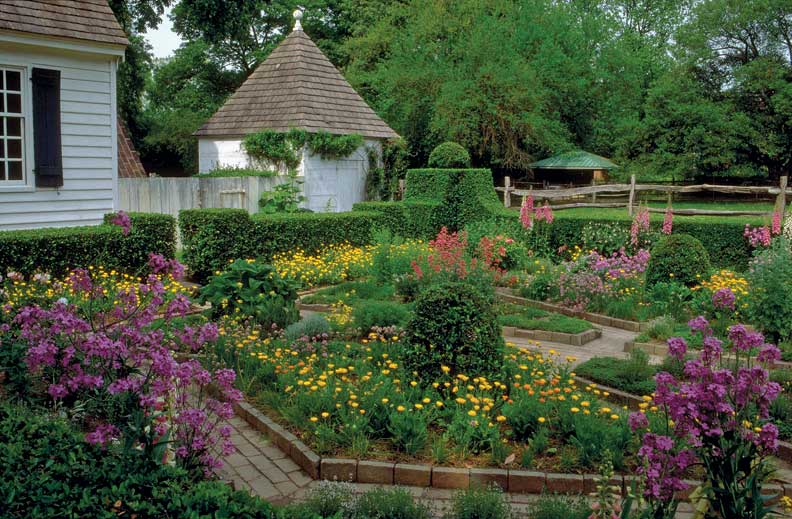Colonial Williamsburg has a number of orderly cutting gardens enclosed by boxwood hedges.