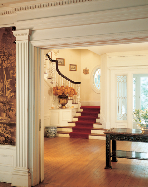 Ivory paint on neo-Colonial woodwork is a convention of colonial interiors.  This house
