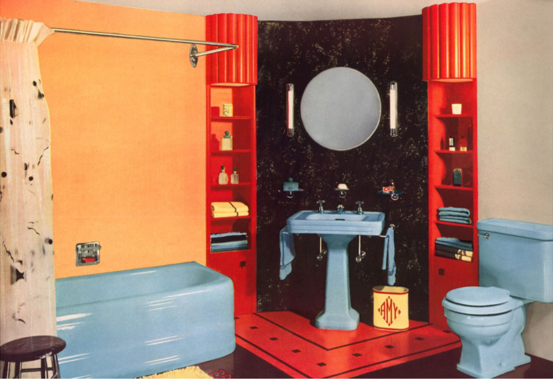 By 1940, close-coupled toilets in bright colors were the norm, like this outstanding bathroom suite in baby blue.