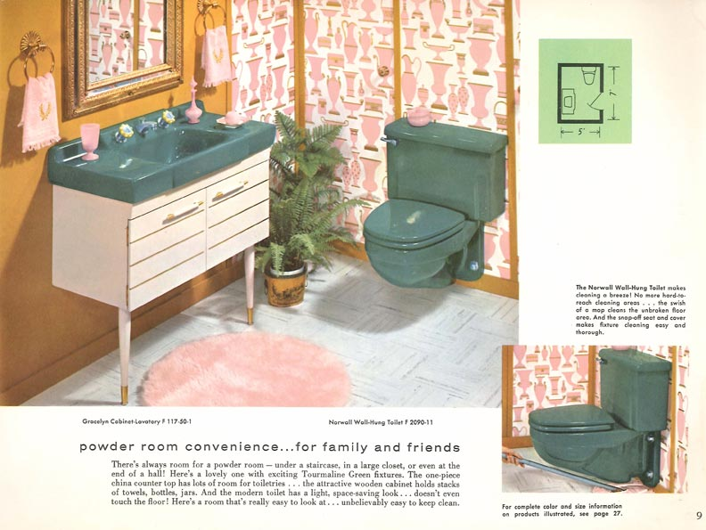 At the end of the 1950s, colors became richer, like this striking teal, and the latest innovation involved toilets bolted to the wall—technology that claimed to make cleaning easier (note the mop beneath the toilet at right).