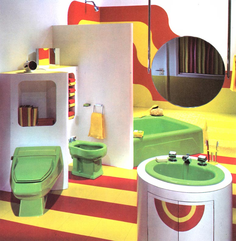 While It S Hard To Imagine This Color Combination Being Well Received Today Kohler Pairing Of Acid Green Lime Yellow And Cherry Red In 1970s Era