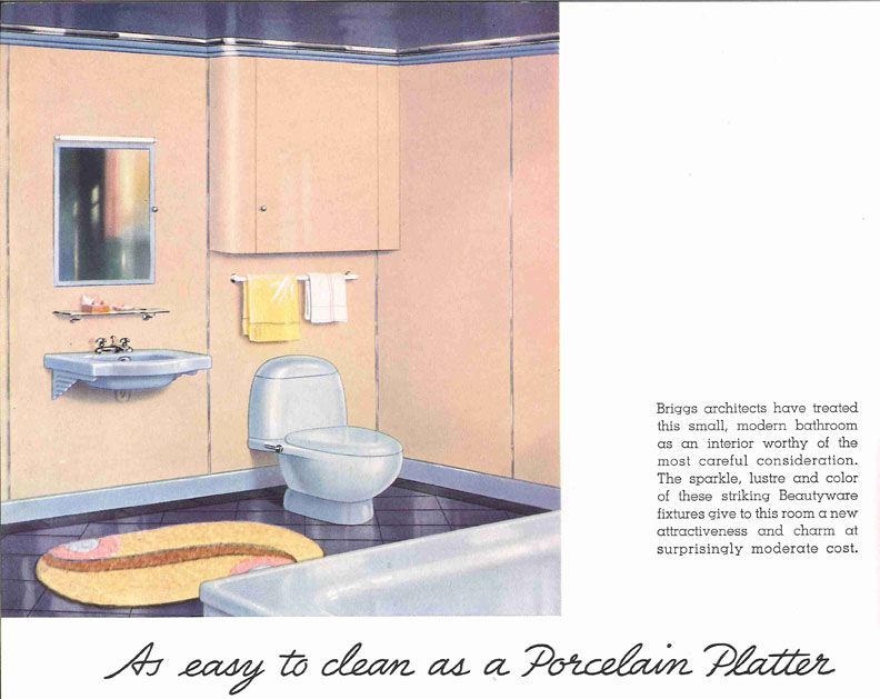 """The Streamline era ushered in some of the most modern toilets ever created. This pale blue design by Briggs remains highly collectible today—although the 1936 ad copy exclaiming, """"As easy to clean as a porcelain platter"""" might give folks some pause."""