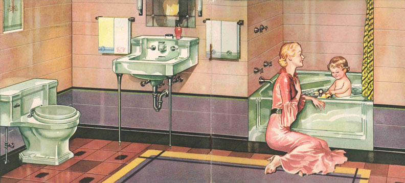 Ming Green was the name of this color in American Standard's early color repertoire. It made a bold Art Deco statement when paired with mauve and peach tiles, as in this advertisement from the early 1930s.