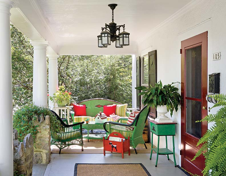 Colorful furnishings outfit the porch.