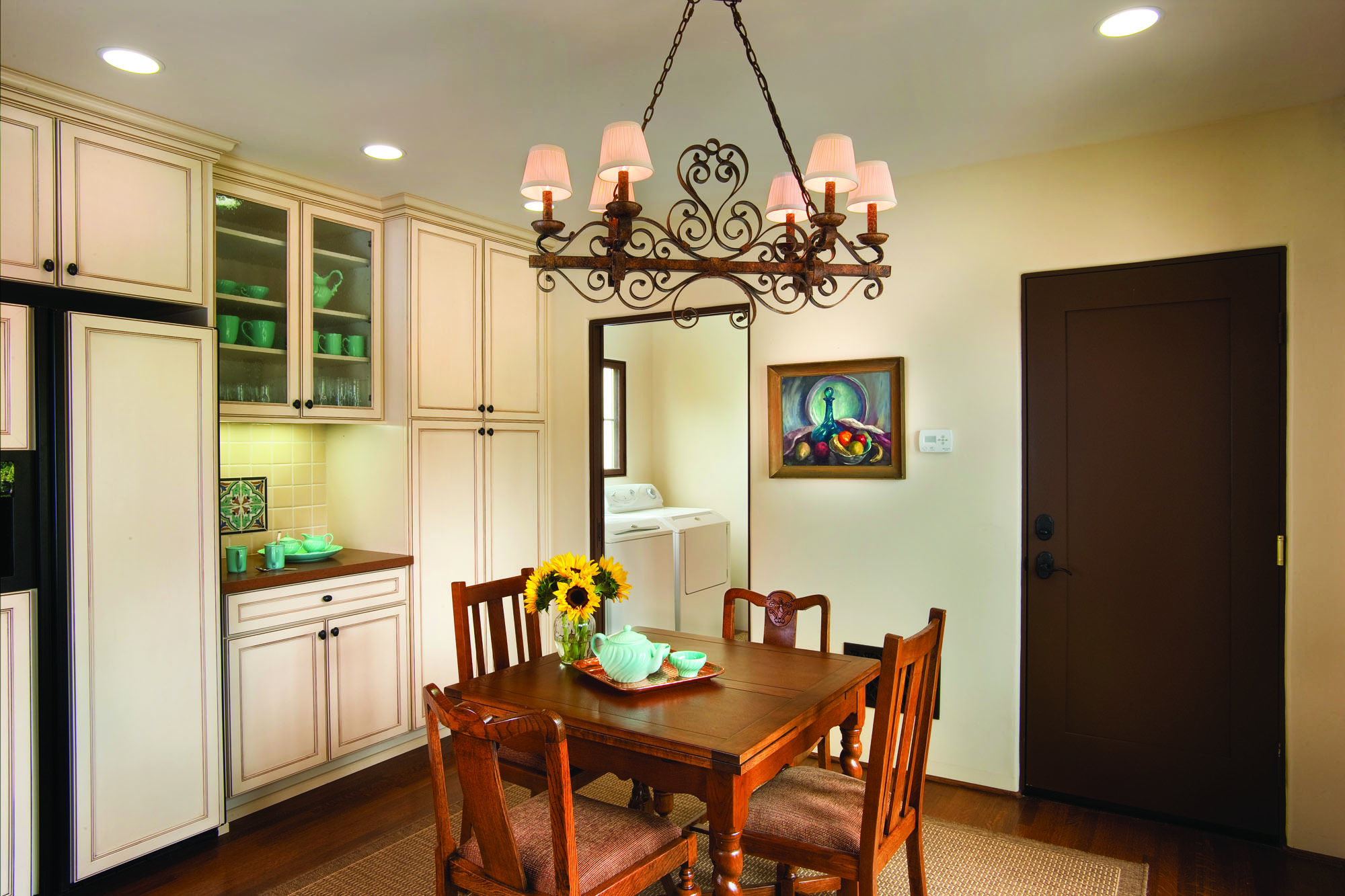 The breakfast room is part of the kitchen. A five-foot addition allowed for a new laundry room.
