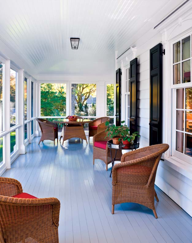 Hines built the porch out of mahogany; the flooring was hand-sanded.