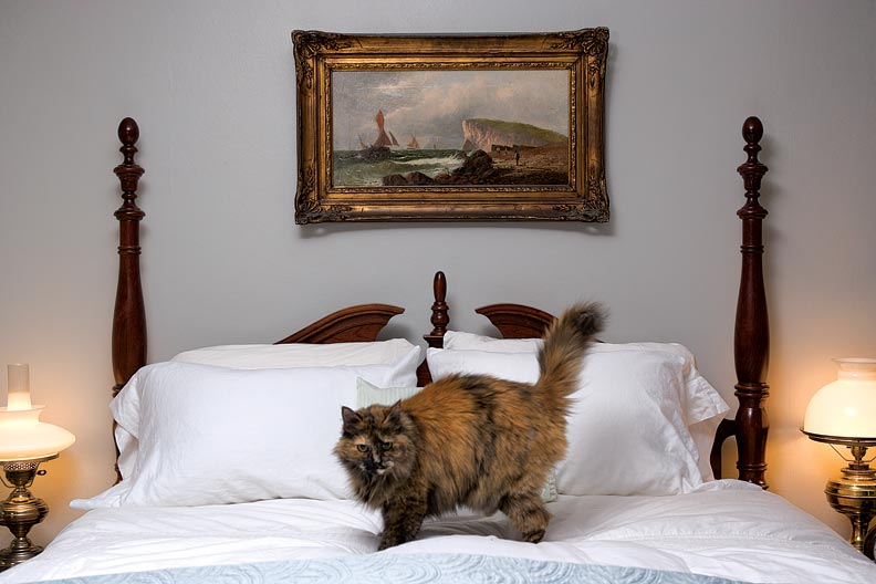 Contemporary pieces mix with antiques in the bedroom, where a ca. 1890 oil of Copenhagen hangs over the bed.
