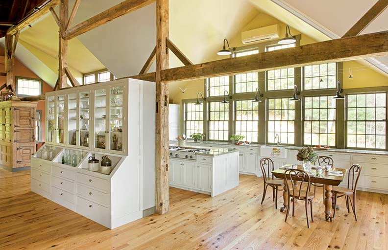A large hutch divides the massive kitchen.