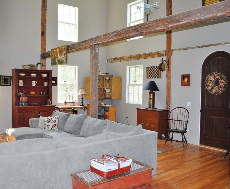 grange interior with wood beams