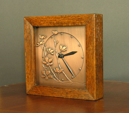 Copper and wood cherry blossom clock, James Mattson