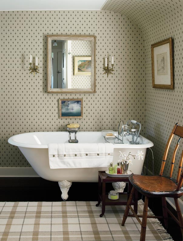 Country bathroom with clawfoot tub