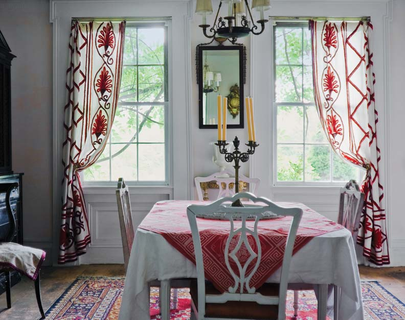 Paneled wainscoting in a Greek Revival dining room