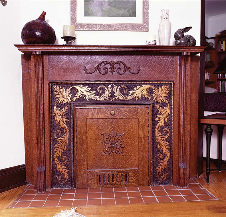 The bronze plating on the fireplace cover is thought to be from the American Bronze Powder Company in Bob's hometown of Verona, New Jersey.