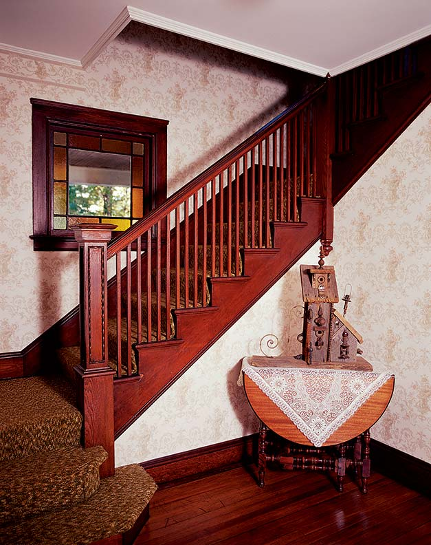 Among the features that charmed D. J. on her first visit was the stairwell, which combines Victorian fillips with more straightforward Edwardian-style balusters.