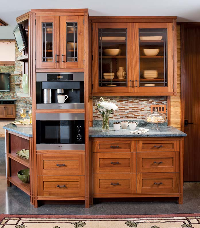 The cabinetry in this upstate New York kitchen was inspired by Frank Lloyd Wright's Prairie School designs.