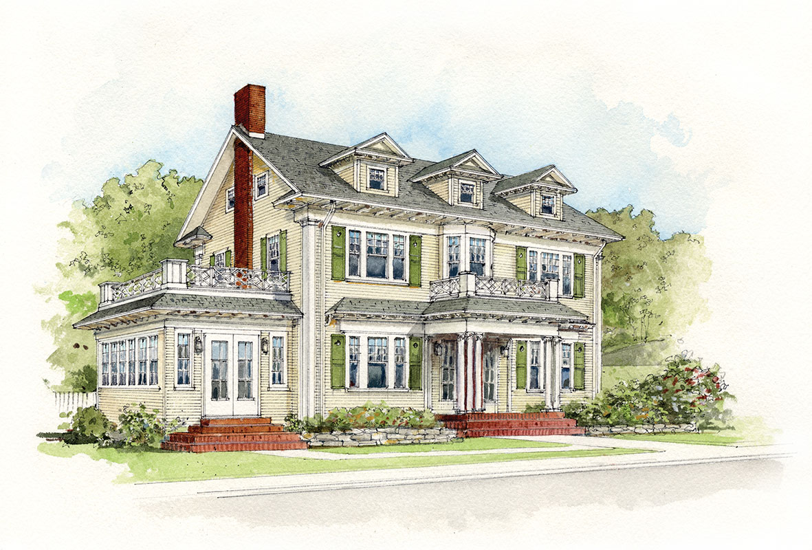 Colonial revival revealed restoration design for the for Exterior house drawing