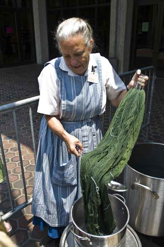 Dede Styles demonstrates how to use natural dyes to color yarn for spinning. (Photo: Stewart Stokes)