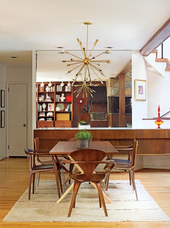 Reflecting The Vintage Sputnik Chandelier An Original Mirrored Wall Over Walnut Buffet Expands