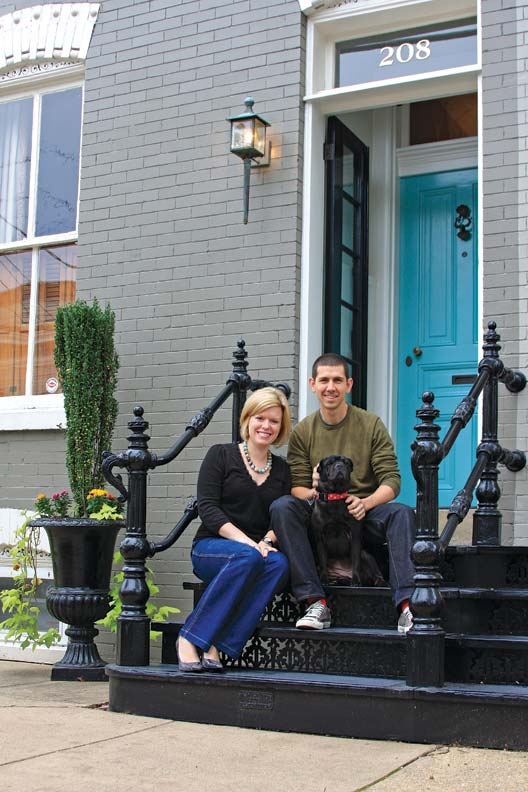 Replacing the brick front steps with hefty cast iron ones was one of the more involved projects, requiring buy-in from the couple's next-door neighbors, too.