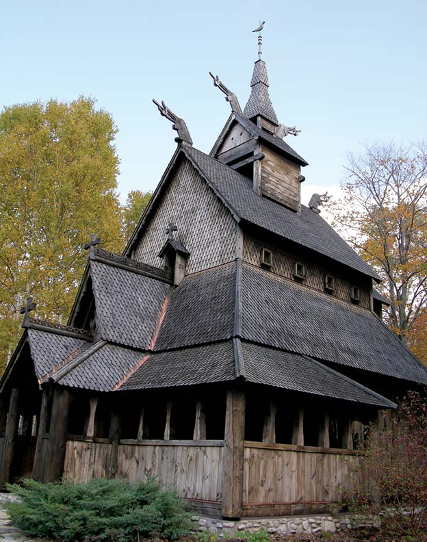 The Stavkirke on Washington Island, hand-built by locals, is a replica of a 12th-century church in Borgund, Norway.