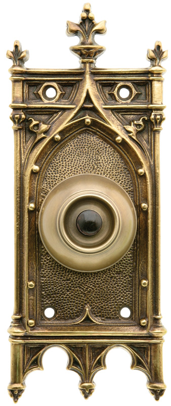 Doorbell with Gothic backplate.