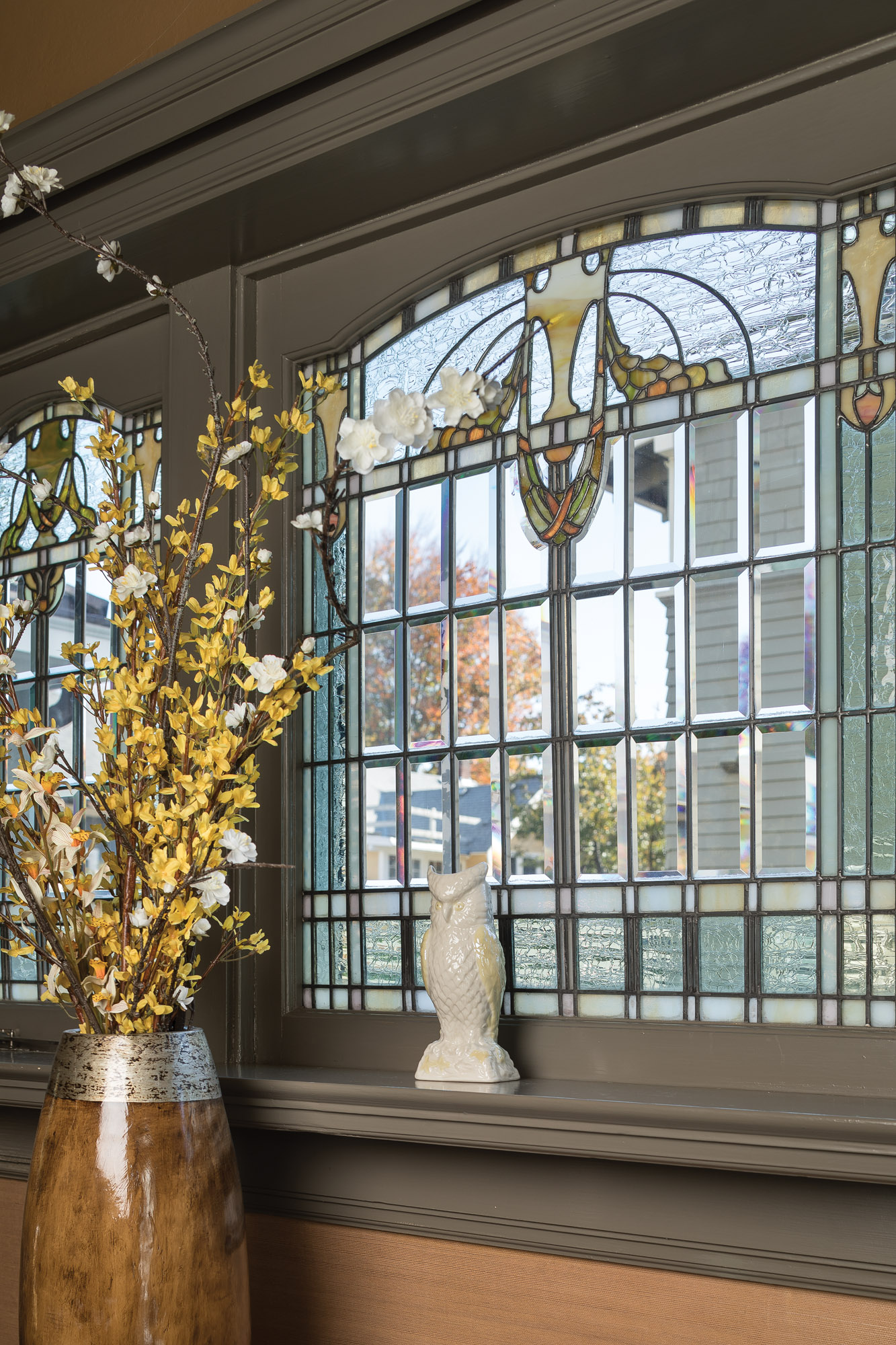 beveled glass, stained glass