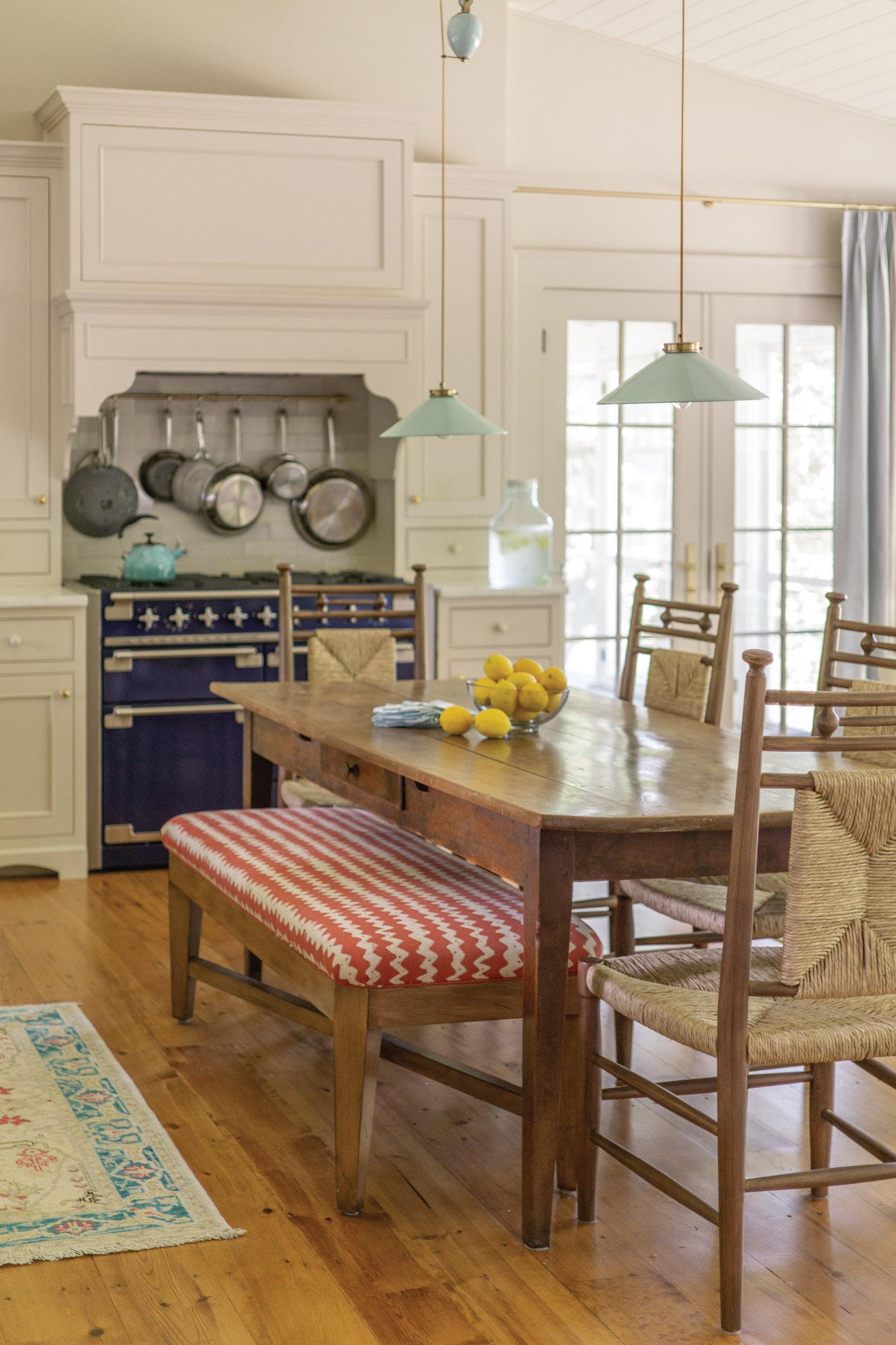 navy blue-enameled stove