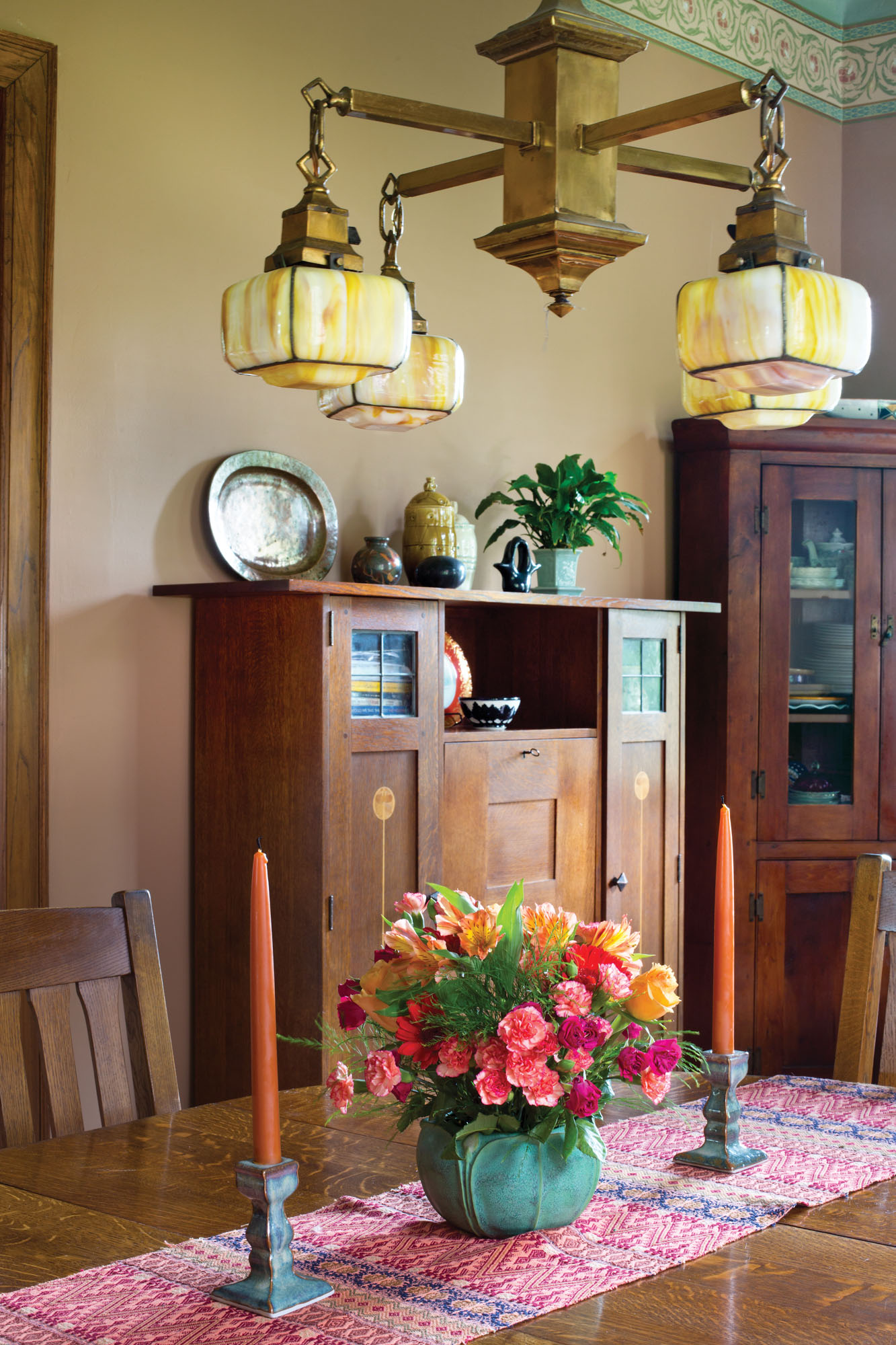 Stickley cabinet in dining room