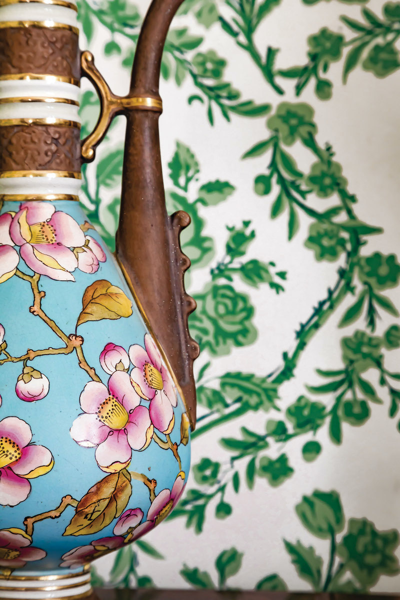 Aesthetic Movement ceramics include an Old Hall Pottery coffeepot with hand-painted cherry blossoms.