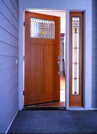 This Frank Lloyd Wright-inspired door is from the Simpson Door Company.