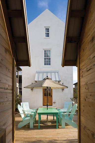 Drawing on Anglo-Caribbean influences, architect Geoffrey Mouen designed this compact home in Rosemary Beach, Florida.
