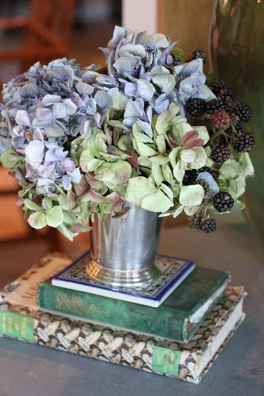 Dried hydrangeas in silver julep cu[