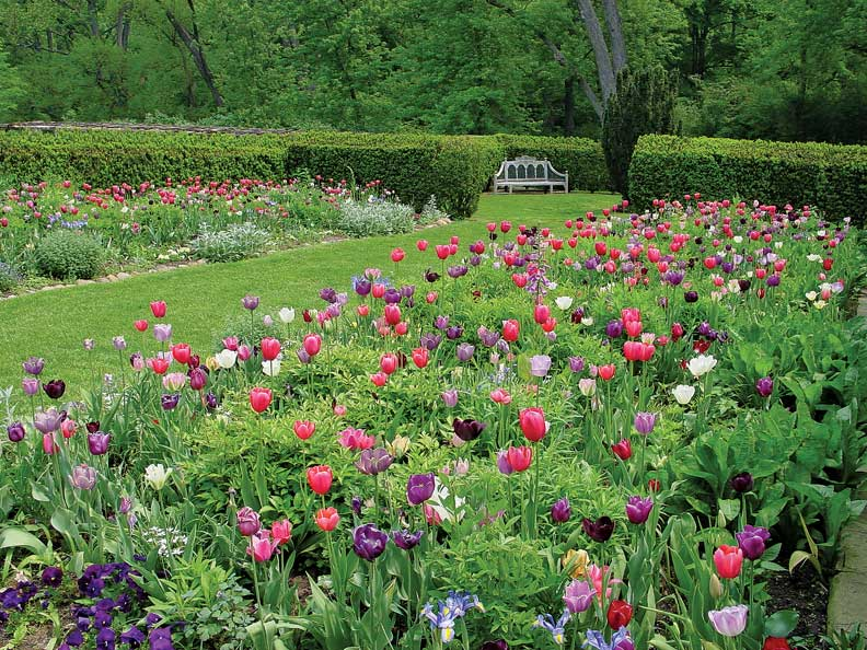 The Dumbarton Oaks gardens in Washington, D.C, meld with their natural setting.