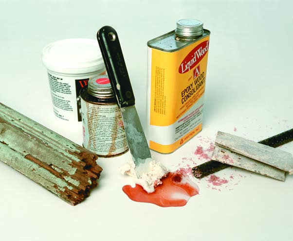 The materials for average epoxy repairs are simple—common hand tools and containers of A and B fillers—but they can solve problems throughout the exterior and interior surfaces of an old house.