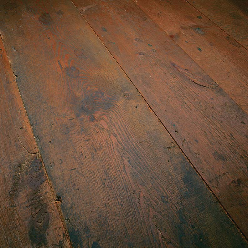 Floorboards reclaimed from an attic with their original finish, Sylvan Brandt.