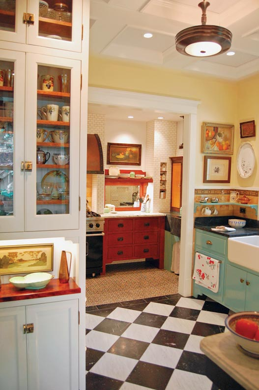 "Inside the cooking nook, the custom-made sideboard was based on an old flea-market find that Doug had passed on to his sister. ""Everything that was wrong with it we fixed in the new version,"" he says."