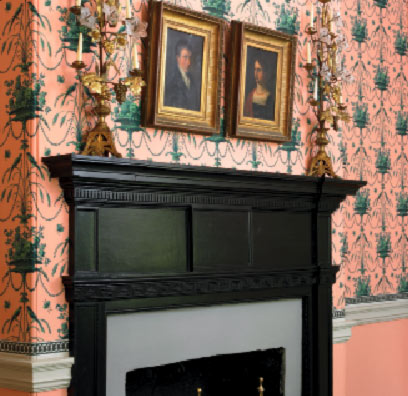 This Federal-era country-house mantel in an 1803 Maryland house has a simple dentiled entablature.