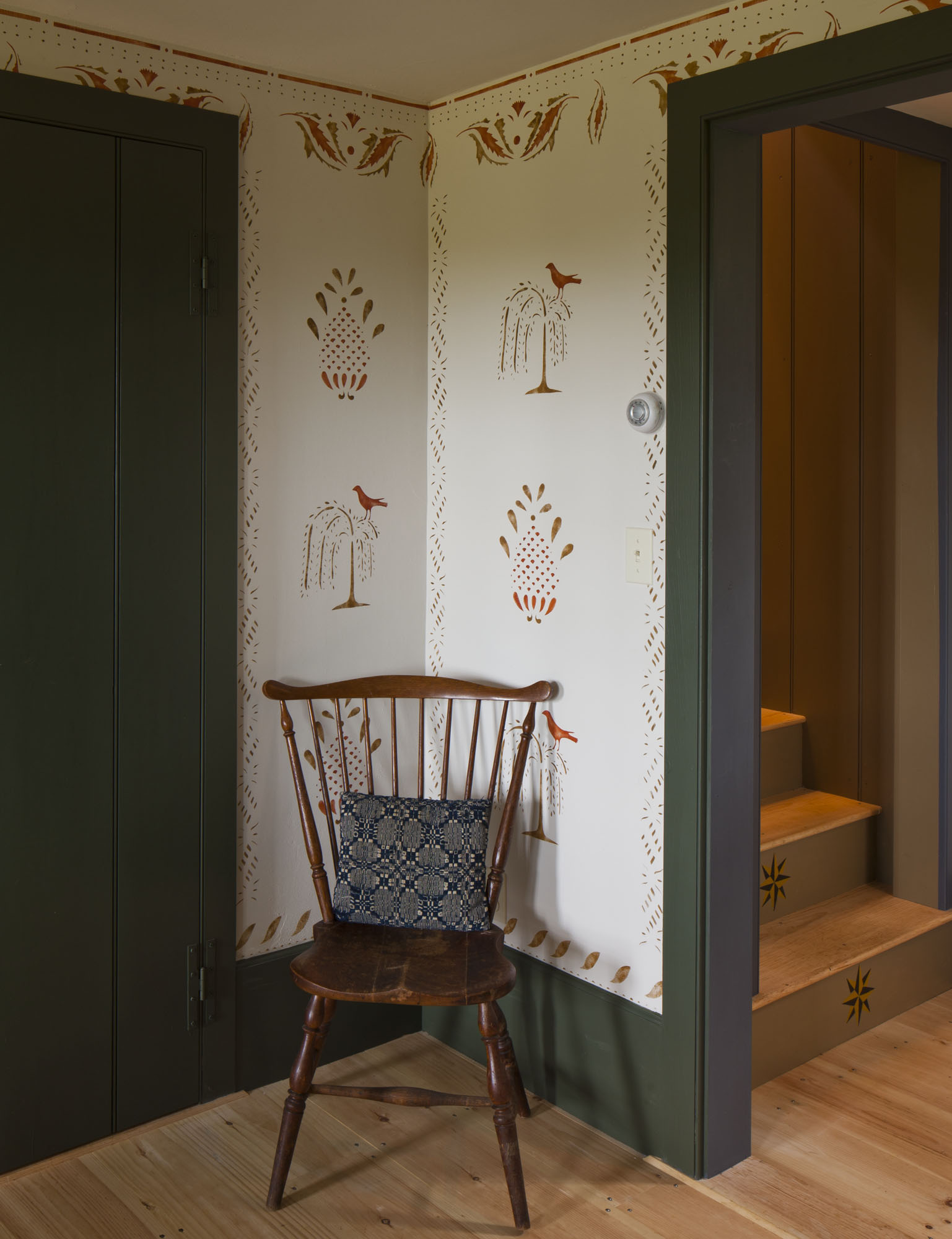 Contemporary patterns from the American Home Stencils historical collection include stylized wheat, a floral Scandinavian kurbits design, and thistles.